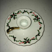 2 Lefton Holly Leaves Berries Chamber Stick Candle Holder Christmas Wedding