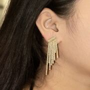 New 2.3ct Pave Diamond Solid 14k Yellow Gold Spike Dangle Chandelier Earrings Cy