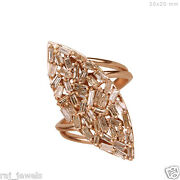 Solid 18k Rose Gold Marquise Pave 2ct Diamond Wedding Ring Antique Style Jewelry