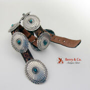 Charles Mike Yazzie Navajo Concho Belt Sterling Silver Turquoise Leather 1970