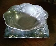 Vtg Lenox Aluminum Pewter Serving Tray Punch Platter And Bowl-fruits And Berries