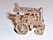 Vintage 9k Yellow Gold 3d Moveable Steam Tractor Pendant Charm