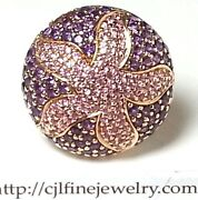 Curtis J Lewis Finds 14k Rose Gold Pink Sapphire And Amethyst Star Fish Ring.