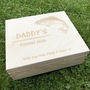 Personalised Fishing Box Fly Tackle Floats Fathers Day Gift Wooden Compartments