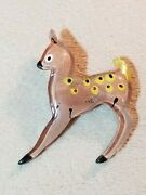 Vintage Reverse Painted Lucite Brooch Pin Baby Deer Bambi 1940s Jewelry Ww2 Fawn