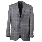 Brioni Modern-fit Gray Layered Glen Check Soft Brushed Flannel Wool Suit 40r