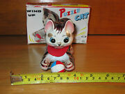 Vintage Tin Wind Up Puzzle Cat Made In Japan In Box Tin Toy Lot Working A+