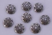 Vintage Solid Sterling Silver Large Cross Buttons Southwest Concho Design 8 Lot