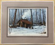 Alain Couture Signed Hand-colored Engraving Maple Sugar Maker - Mat 10andrdquox12