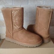 Ugg Classic Short Perf Chestnut / Metallic Suede Boots Size Us 7 Womens