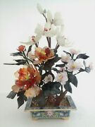 Vintage Chinese Cloisonne Bonsai Tree Assorted Flower