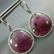 Estate 21.67ct Diamonds And Aaa Pink Tourmaline 14k White Gold 3d Hanging Earrings