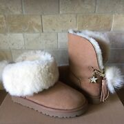 Ugg Classic Charm Star Bling Pom Chestnut Suede Short Mini Boots Size 7 Women