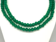 Chrysoprase Green Bead Double Strand Necklace 7.4-7.8mm 23-24