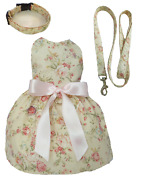 Dog Dress Vintage Roses Ivory For Small Dog Chihuahua Toy Breed Dachshund Xxs-m