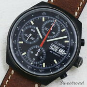 Gallet Cal.7750 Original Black Dial Black Coating Case Chronograph Watch Used