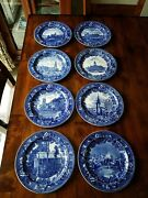 8 Antique Historical England Wedgwood Flow Blue Plates Jones Mcduffee And Stratton