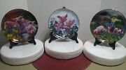 Pigs In Bloom Danbury Mint Joan Wright Collectible 3 Plates