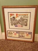 1994 Usps First Day Stamp 125th Transcontinental Railroad Framed Art Memorabilia