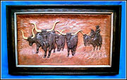 Western Longhorn Cattle Drive Cowboy Rides Horse 31x19 Carved Wood Picture Frame