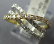 Estate Wide .87ct Diamond 18kt White And Yellow Gold 3 Row Criss Cross X Love Ring