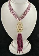 Antique Natural Rock Crystal Quartz 22k Gold Ruby Pearl Beads Important Necklace