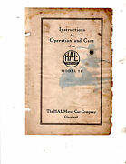 Hal Twelve Model 21 Instructions For Operation And Care Manual Printed In 1917