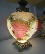 Pair Rare Old Vintage 1970and039s Victorian Grape Glass Table Lamps Ef And Ef Ind