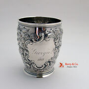 Ornate Repousse Beaker Coin Silver Lincoln And Foss Boston 1855