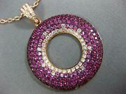 Large 3.45ct Diamond And Aaa Pink Sapphire 18kt Rose Gold Circle Of Life Pendant