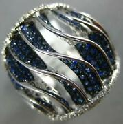 Extra Large 1.74ct Diamond And Aaa Sapphire 18k White Gold 3d Multi Row Swirl Ring