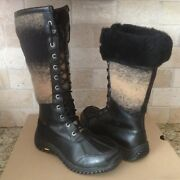 Ugg Adirondack Tall Black Ombre Waterproof Leather Fur Snow Boots Size 6 Womens