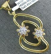 Estate Large .45ct Diamond 18kt White And Yellow Gold 3d Double Flower Fun Pendant