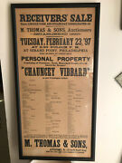 Framed 1897 Antique Auction Sale Poster Contents Of Steamship Chauncey Vibbard