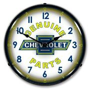 Retro Style Genuine Chevrolet Parts Game Room Man Cave Led Lighted Wall Clock