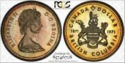 1971 Canada British Columbia Silver Dollar Pcgs Sp66 Soft Golden Toned Coin