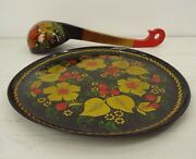 Vintage Hand Painted Black Lacquer Plate And Ladle Russian