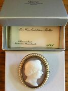 Antique 1800's Silhouette Cameo Shell 15k Gold Brooch Pin, Engraved