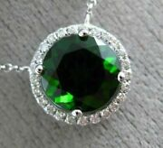 Estate 2.14ct Diamond And Aaa Green Garnet 14kt White Gold Classic Round Necklace
