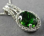 Estate 1.54ct Diamond And Aaa Green Garnet 14kt White Gold 3d Oval Halo Pendant