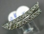 Estate 1.60ct Round Diamond 18kt White Gold 3d Classic Two Row Fun Boat Ring