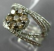 Estate Wide 1.32ct White And Chocolate Fancy Diamond 14k White Gold 3d Flower Ring