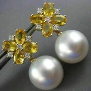 Large 5.36ct Diamond And South Sea Pearl Yellow Sapphire 18kt Yellow Gold Earrings