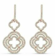 Estate .75ct Diamond 18kt Rose Gold 3d Four Leaf Clover Flower Hanging Earrings