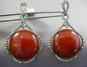 Antique Massive 47.58ct Fancy Diamond And Aaa Red Agate 14kt 2 Tone Gold Earrings