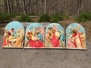 Early 1900s Wood And Plaster Four 4 Church Stations Of The Cross 44 X 33 Nice
