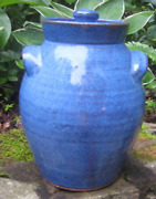 Charles Lisk Retired Blue Cookie Jar 9and1/2 Tall Famous For Face Jugs Look