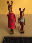 Debbee Thibault American Folk Art -two Rare Bunny Figures Signed Numbered Mint