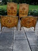 Signed Italian Venetian Painted French Multi-color Floral Twin/day Beds