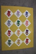 Sunbonnet Sue Handmade Quilt 56x74 Yellow Machine Pieced And Quilted 100 Cotton